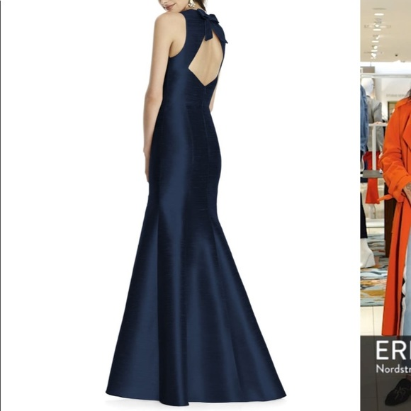 ALFRED SUNG Dresses & Skirts - Alfred Sung Open Back Trumpet Gown Midnight Blue 4